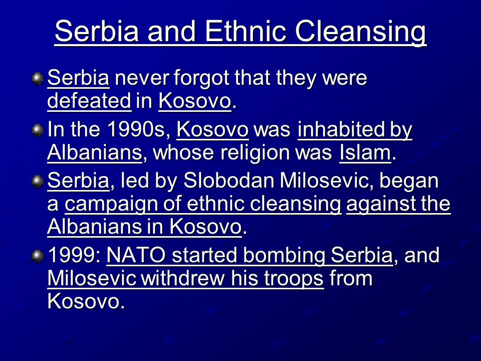 Serbia and Ethnic Cleansing