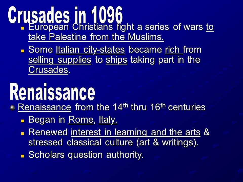 Crusades in 1096 Renaissance