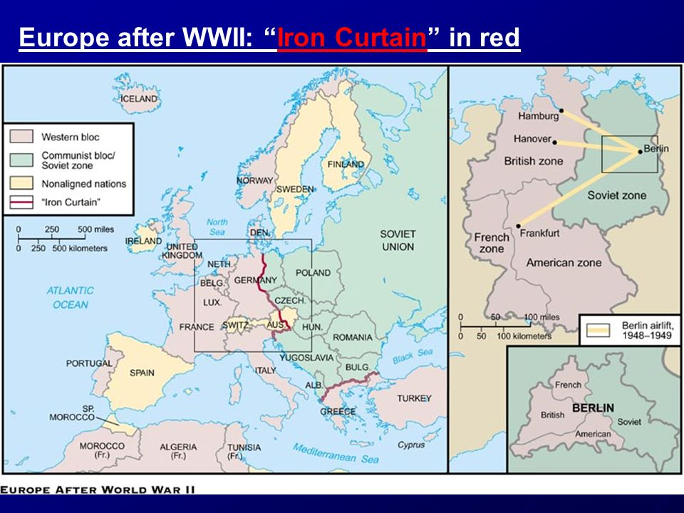 Europe after WWII: Iron Curtain in red