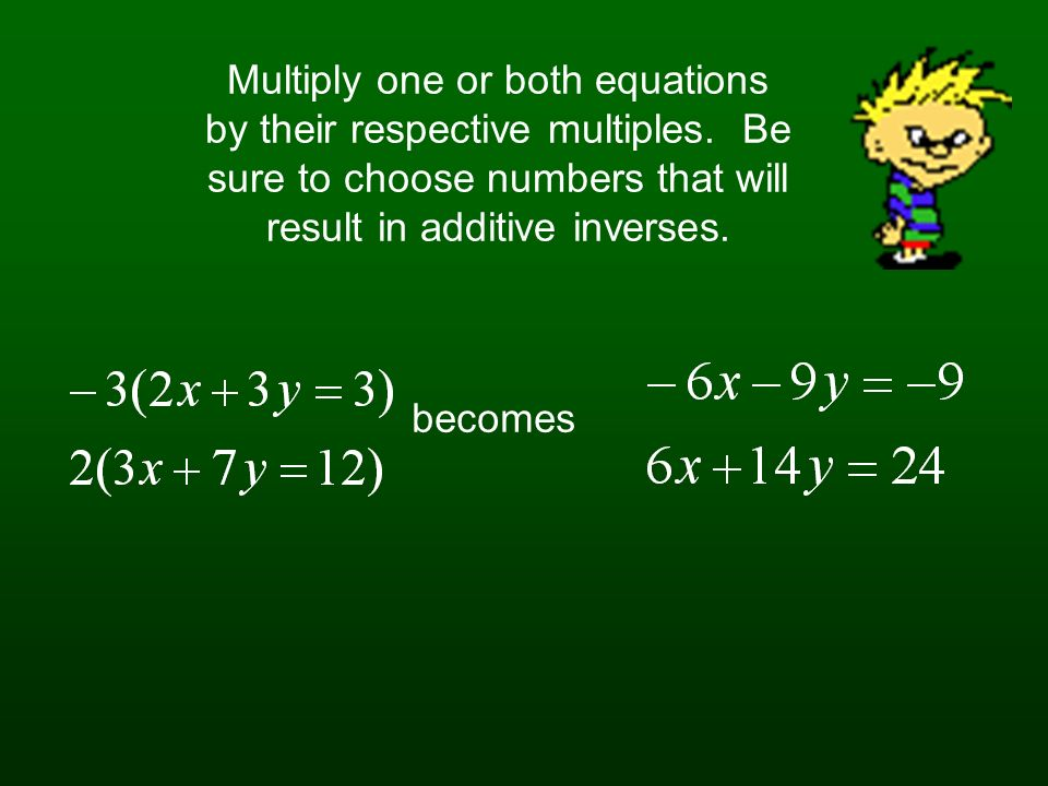 Multiply one or both equations by their respective multiples