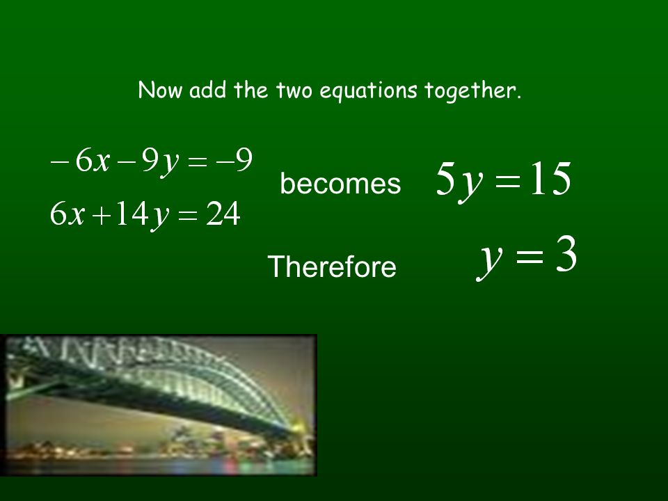 Now add the two equations together.