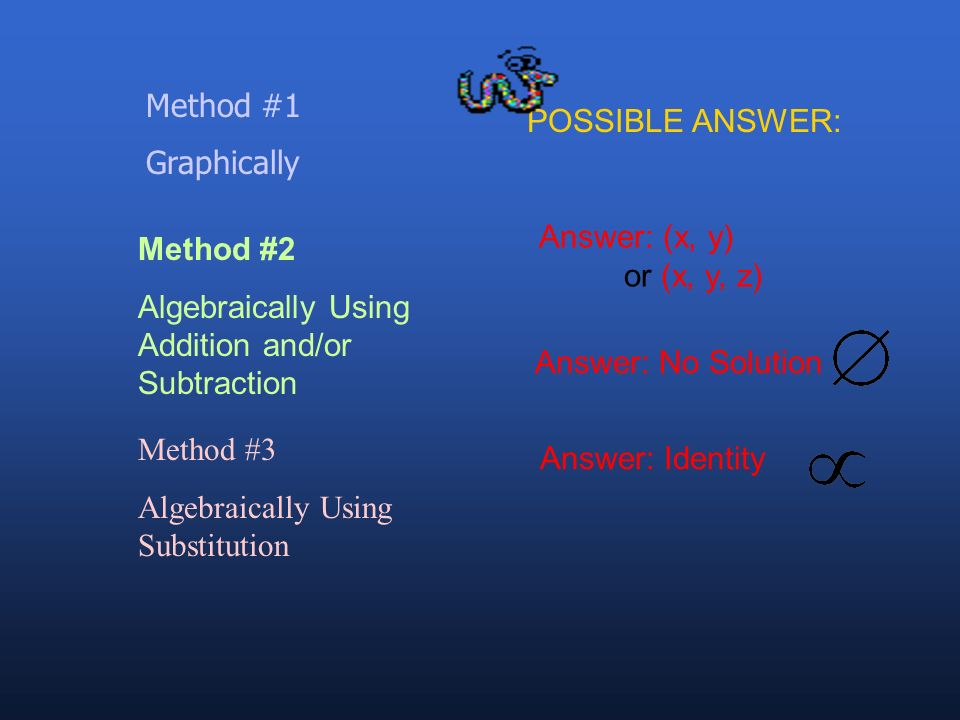 Method #1 Graphically. POSSIBLE ANSWER: Answer: (x, y) or (x, y, z) Method #2. Algebraically Using Addition and/or Subtraction.