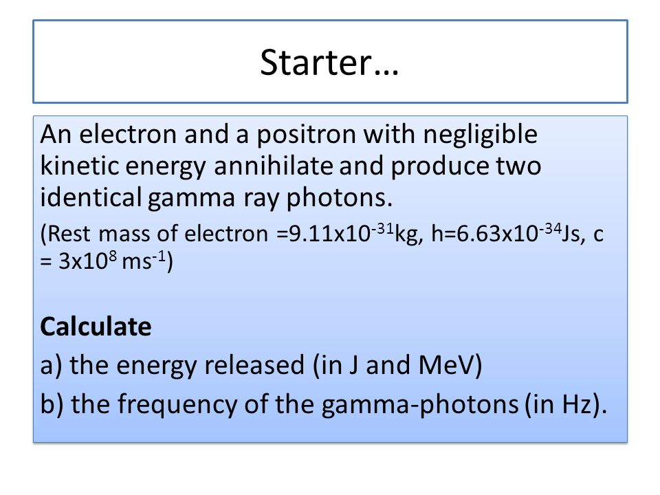 how to find rest mass energy of an electron