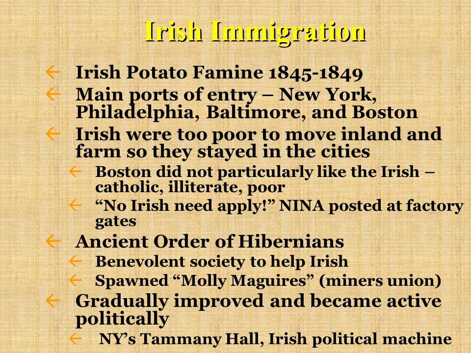 Irish Immigration Irish Potato Famine 1845-1849