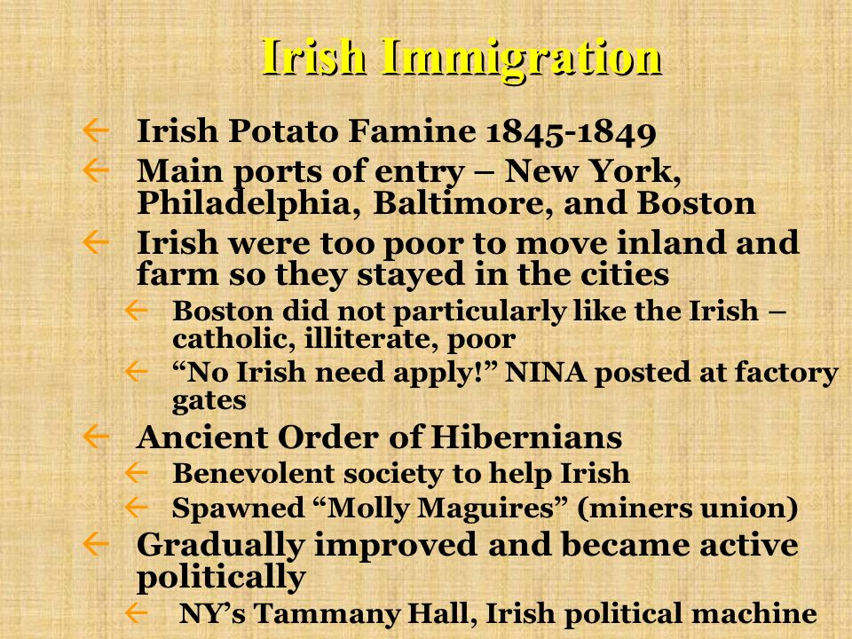 Irish Immigration Irish Potato Famine