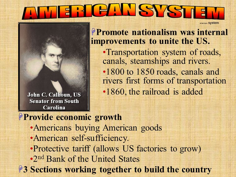 Promote nationalism was internal improvements to unite the US.