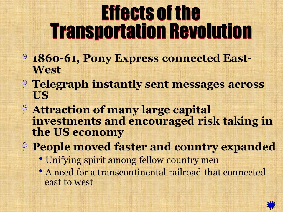 Effects of the Transportation Revolution