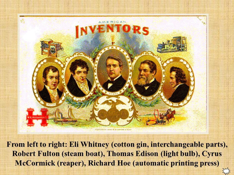 Eli Whitney also invents principle of interchangeable parts, used in muskets for army.