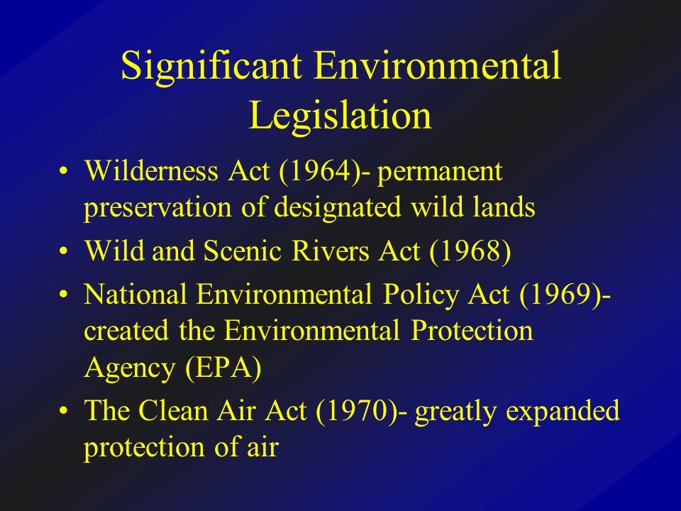 Significant Environmental Legislation