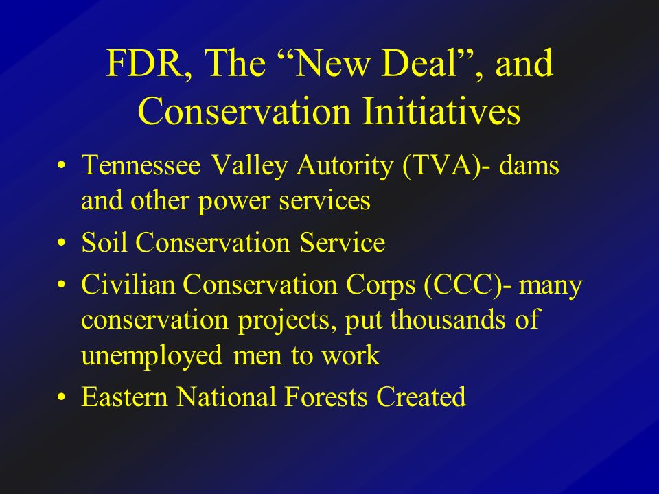 FDR, The New Deal , and Conservation Initiatives