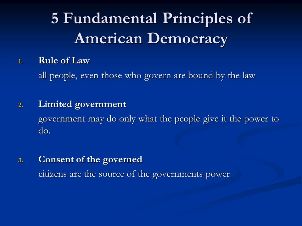 5 Fundamental Principles of American Democracy