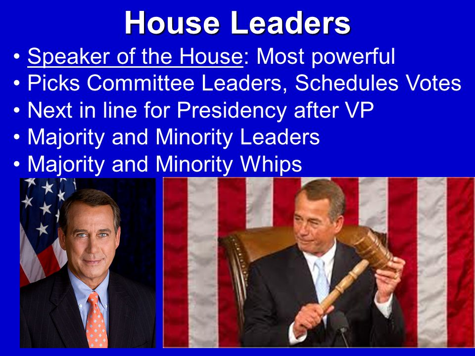 House Leaders Speaker of the House: Most powerful