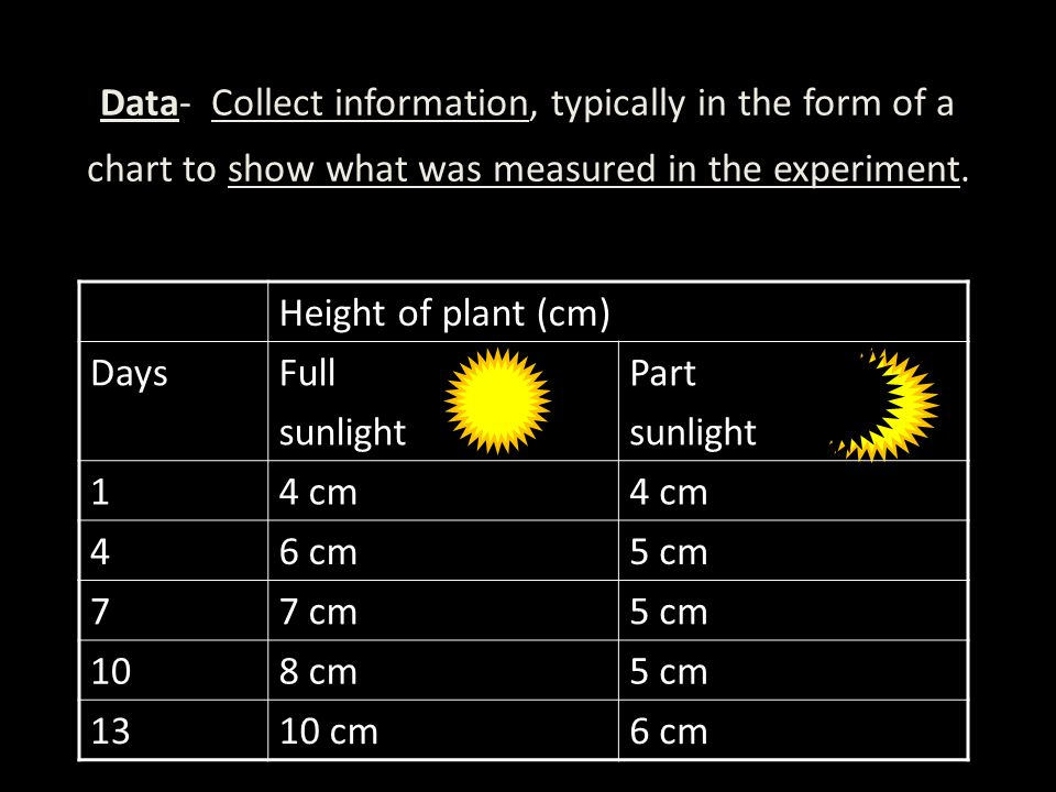Data- Collect information, typically in the form of a chart to show what was measured in the experiment.