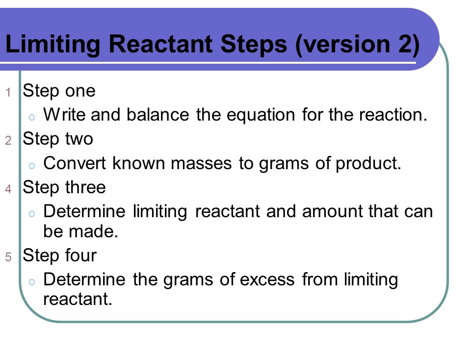 Limiting Reactant Steps (version 2)