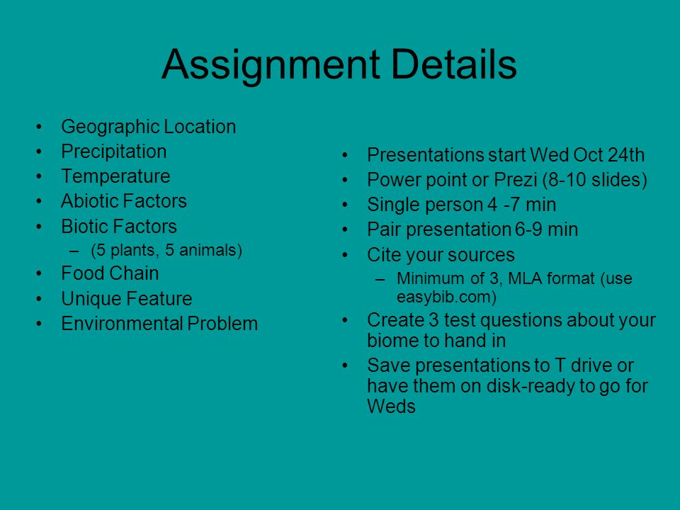 Assignment Details Geographic Location Precipitation Temperature