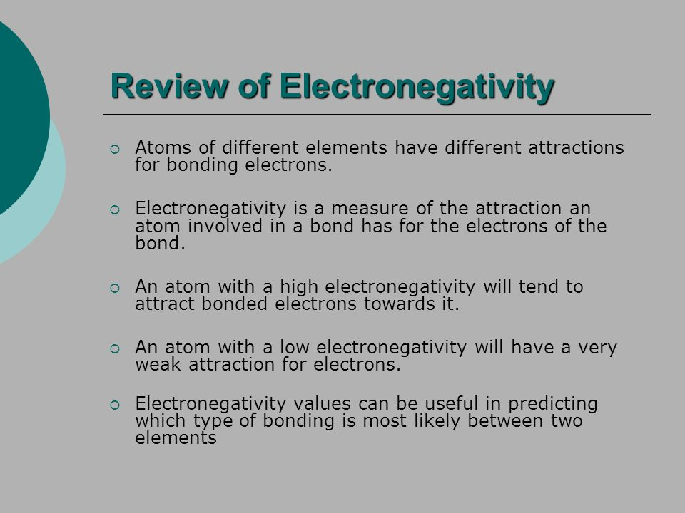Review of Electronegativity