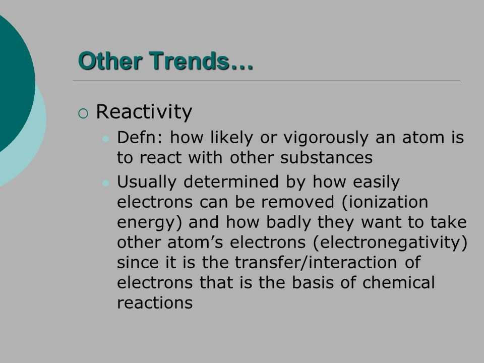 Other Trends… Reactivity