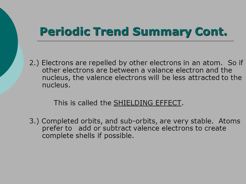 Periodic Trend Summary Cont.