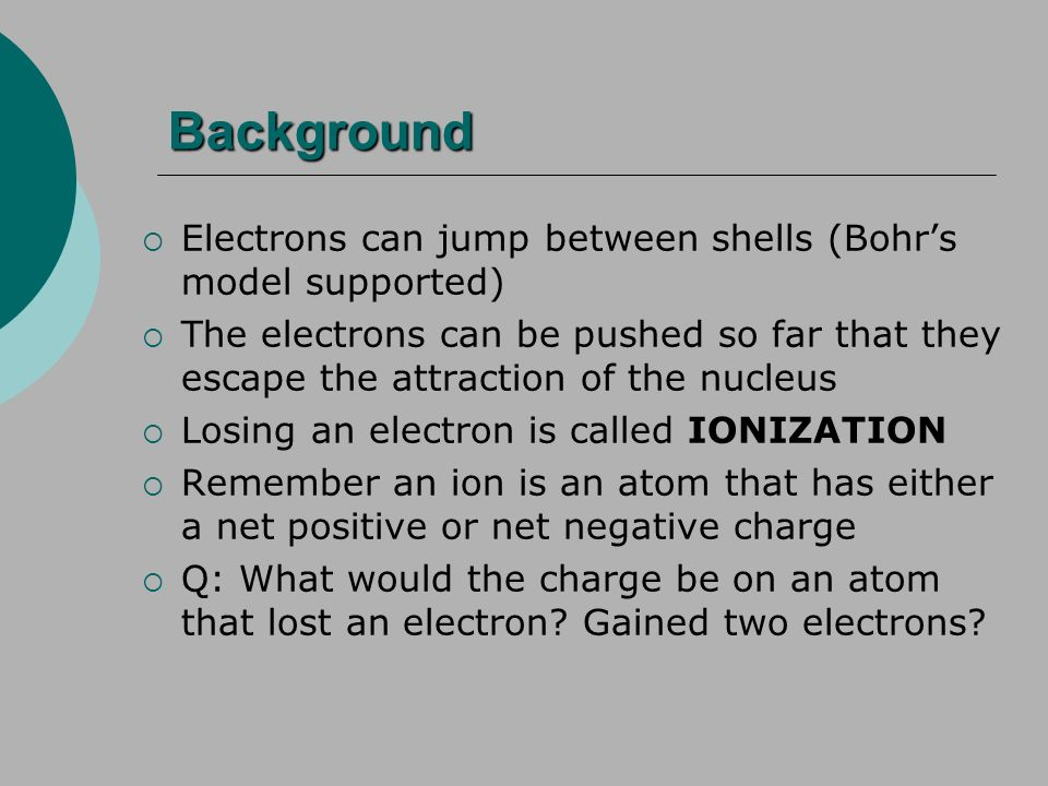 Background Electrons can jump between shells (Bohr's model supported)