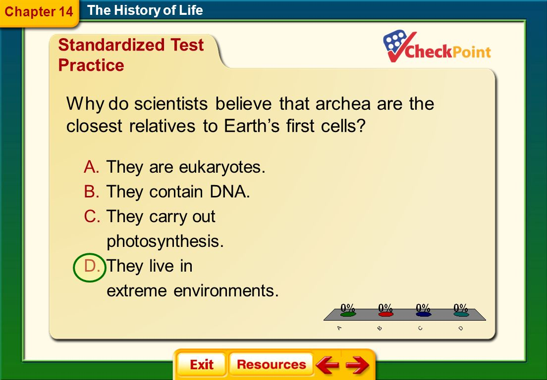 Chapter 14 The History of Life. Standardized Test Practice. Why do scientists believe that archea are the closest relatives to Earth's first cells