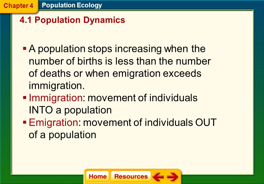 Immigration: movement of individuals INTO a population