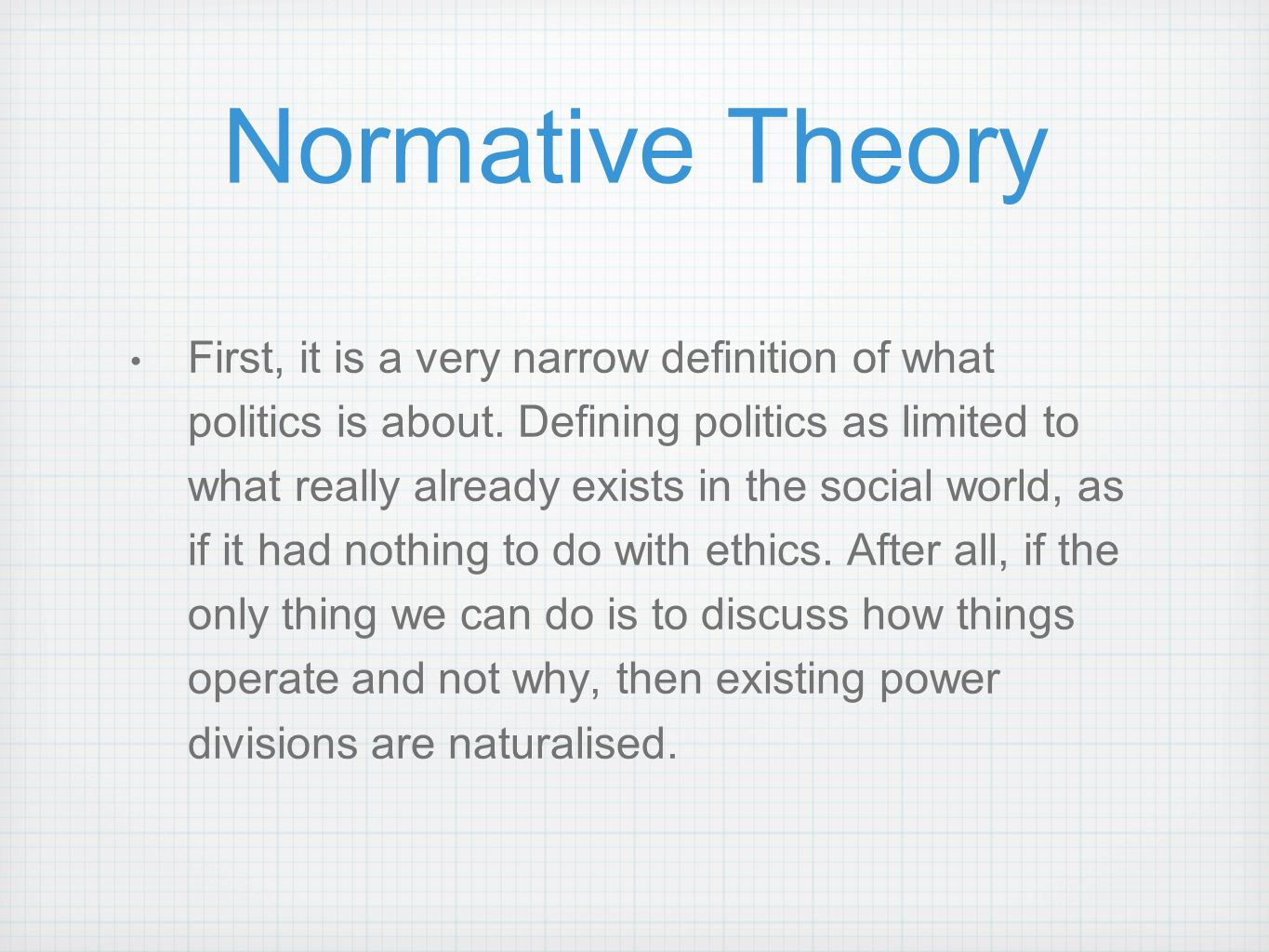 normative theory and policy evaluation Four dimensions of educational policy theory four dimensions of policy theory and application to policy evaluation normative dimension when applying the.