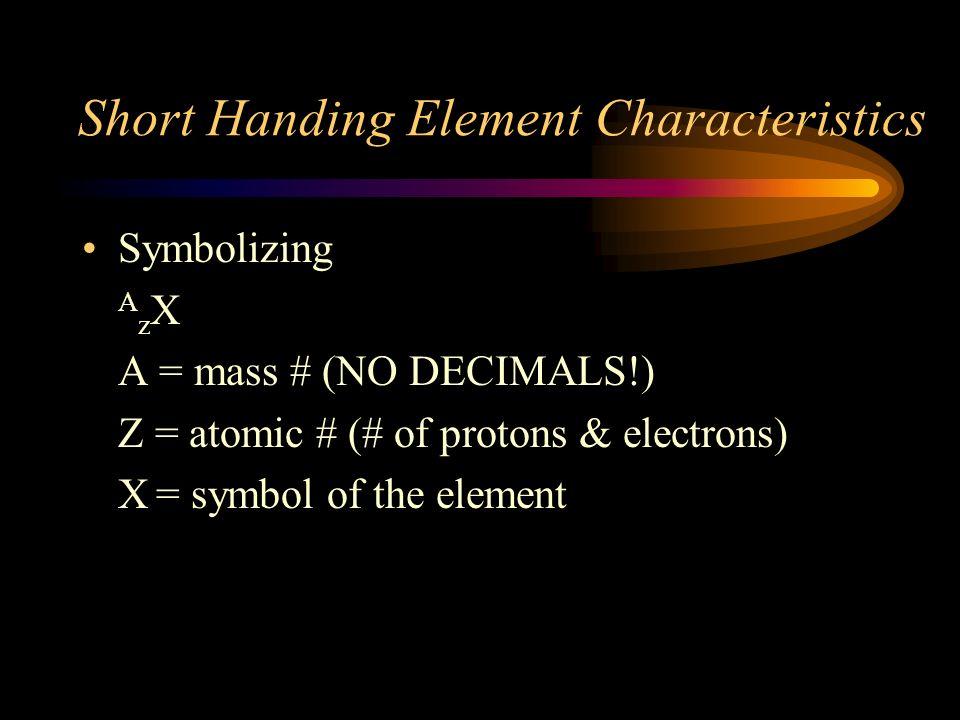Short Handing Element Characteristics
