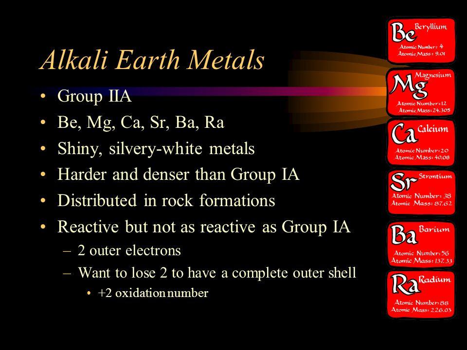 Alkali Earth Metals Group IIA Be, Mg, Ca, Sr, Ba, Ra