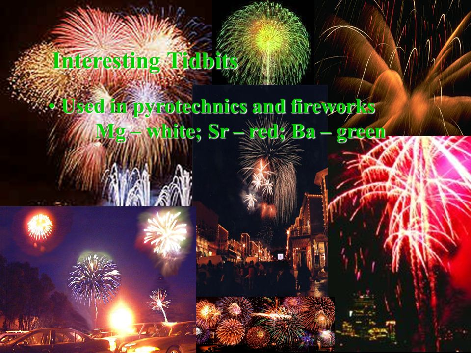Interesting Tidbits Used in pyrotechnics and fireworks