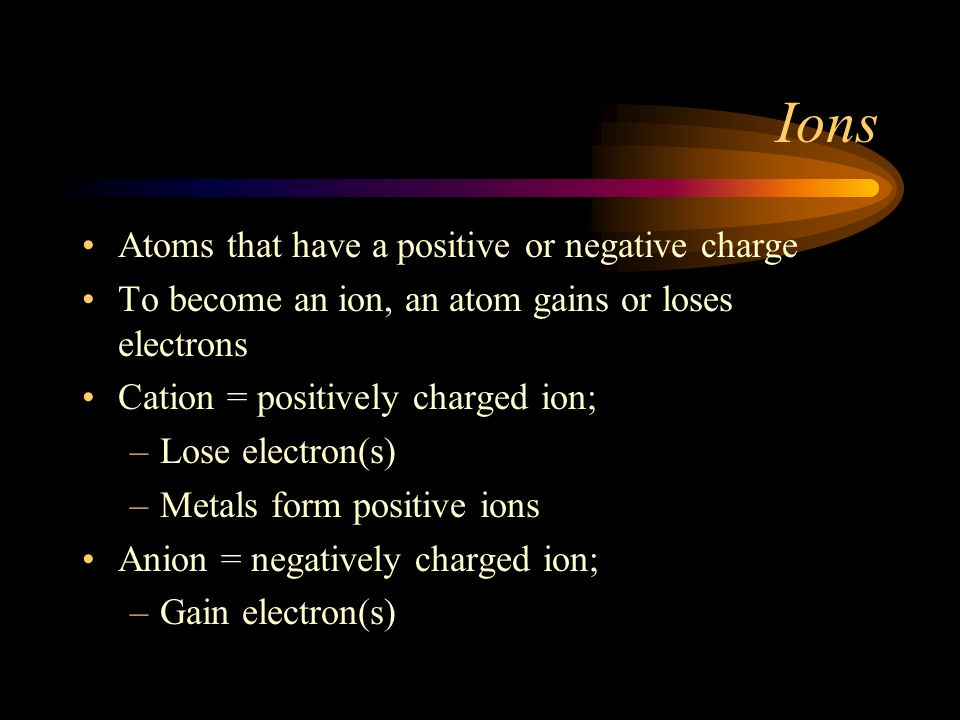 Ions Atoms that have a positive or negative charge
