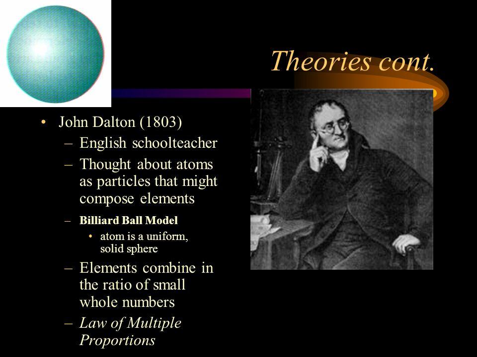 Theories cont. John Dalton (1803) English schoolteacher