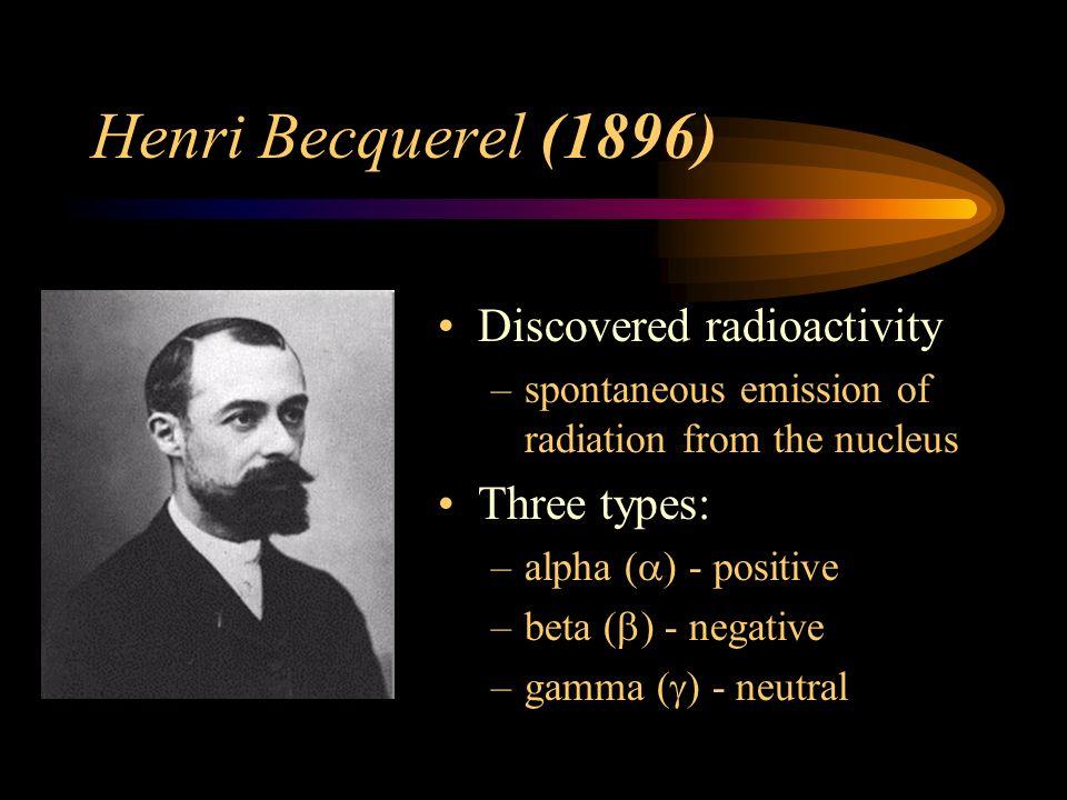 Henri Becquerel (1896) Discovered radioactivity Three types: