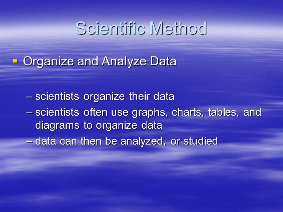 Scientific Method Organize and Analyze Data
