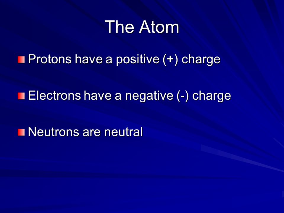 The Atom Protons have a positive (+) charge