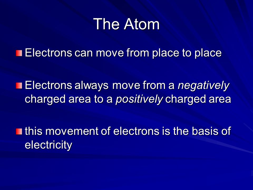 The Atom Electrons can move from place to place