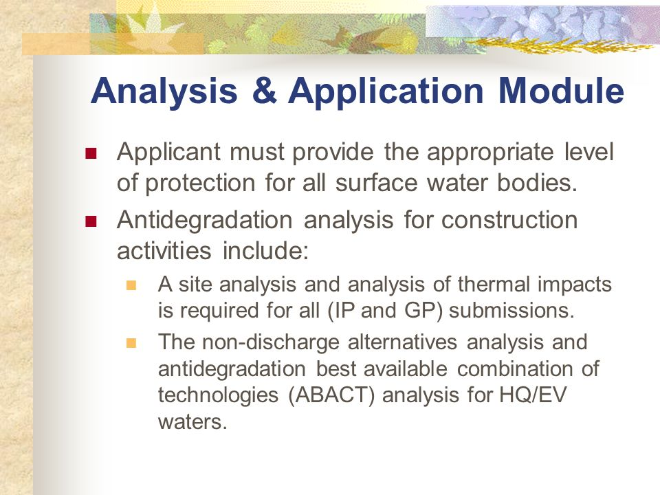 Analysis & Application Module