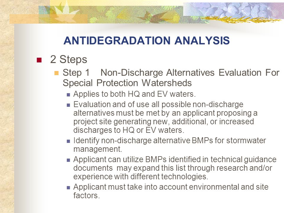 ANTIDEGRADATION ANALYSIS