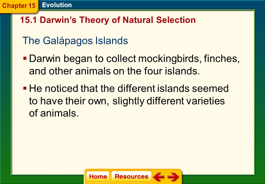 Chapter 15 Evolution Darwin's Theory of Natural Selection. The Galápagos Islands.