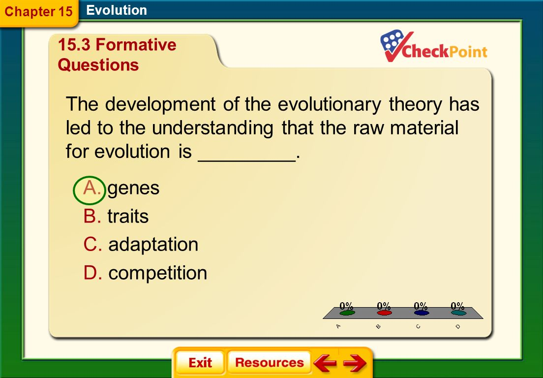 The development of the evolutionary theory has
