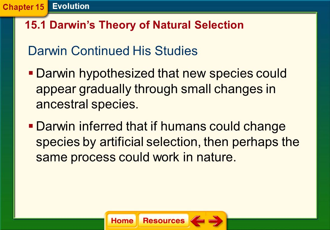 Darwin Continued His Studies