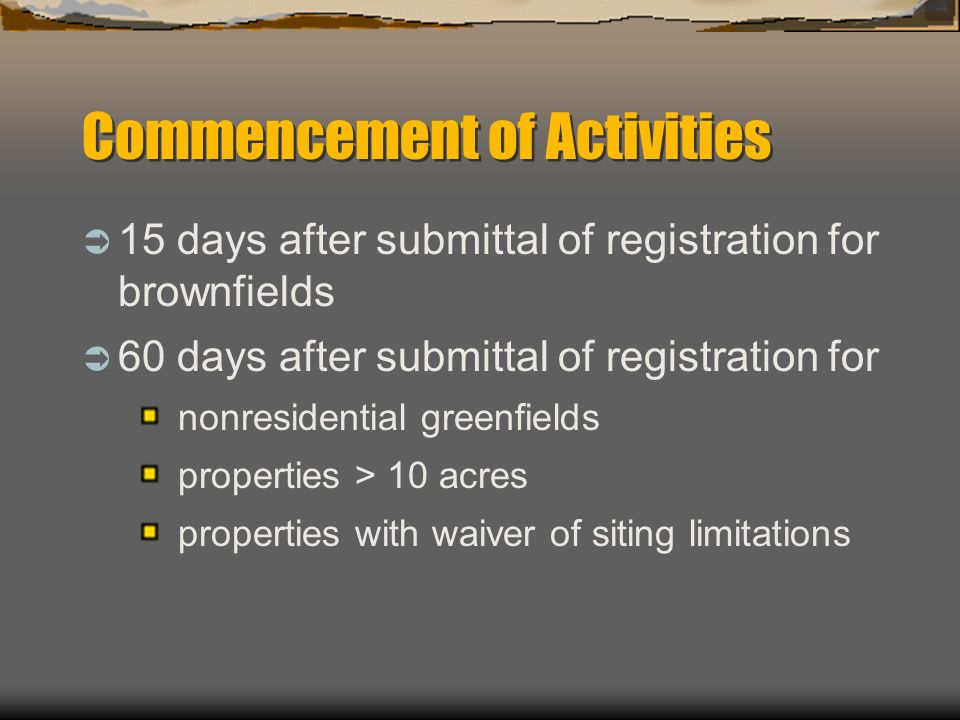 Commencement of Activities