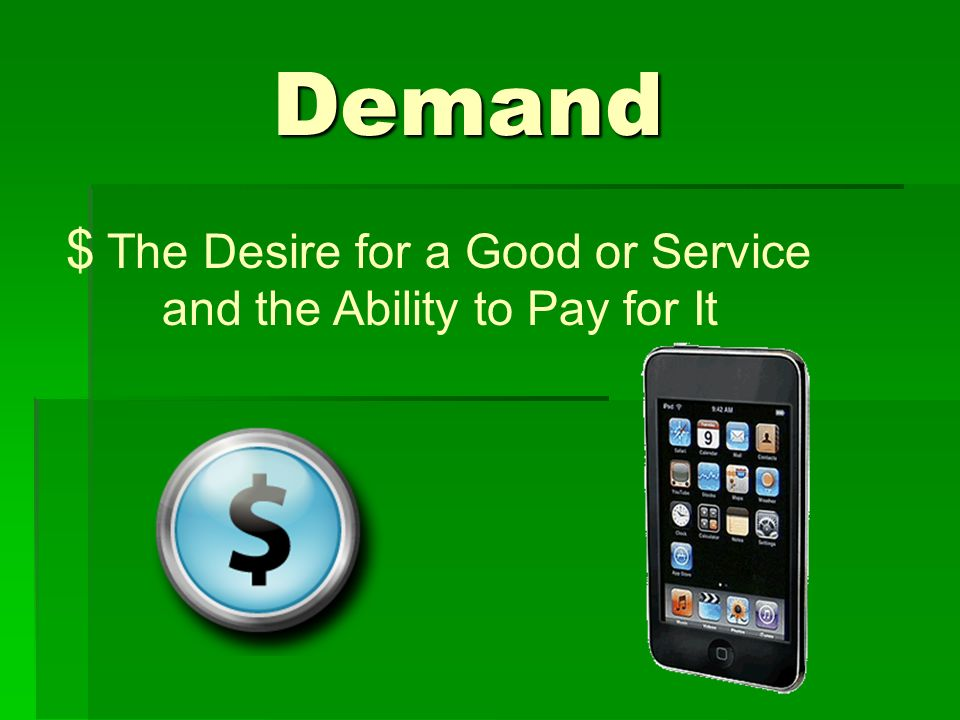 Demand The Desire for a Good or Service and the Ability to Pay for It