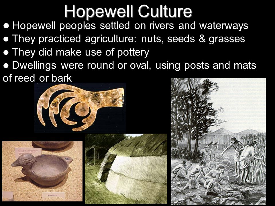 Hopewell Culture They practiced agriculture: nuts, seeds & grasses