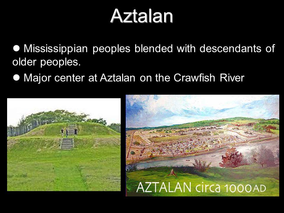 Aztalan Mississippian peoples blended with descendants of older peoples. Major center at Aztalan on the Crawfish River.