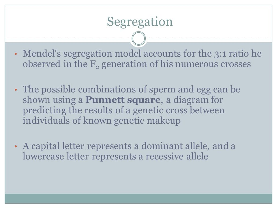 Segregation Mendel's segregation model accounts for the 3:1 ratio he observed in the F2 generation of his numerous crosses.