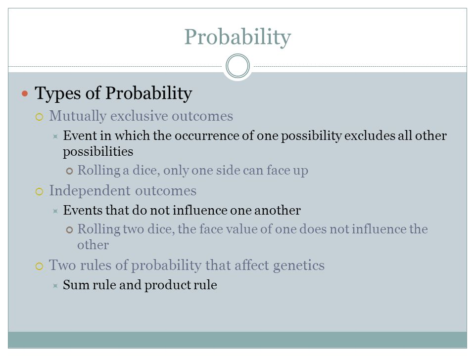 Probability Types of Probability Mutually exclusive outcomes