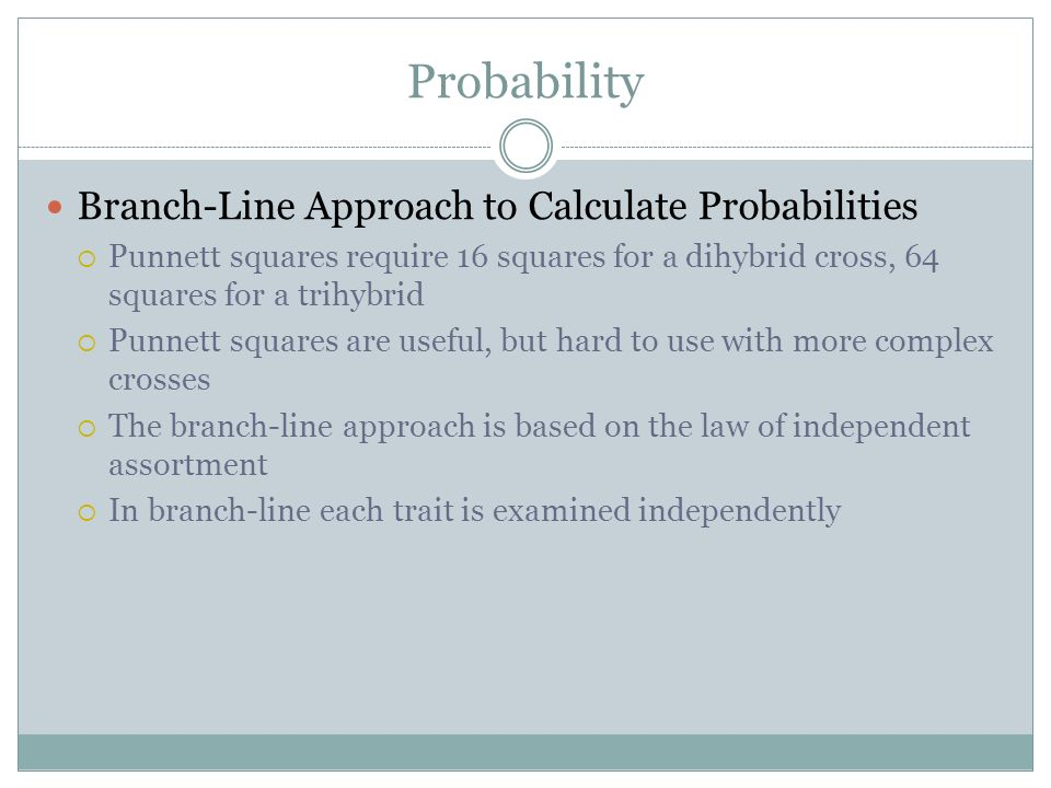 Probability Branch-Line Approach to Calculate Probabilities