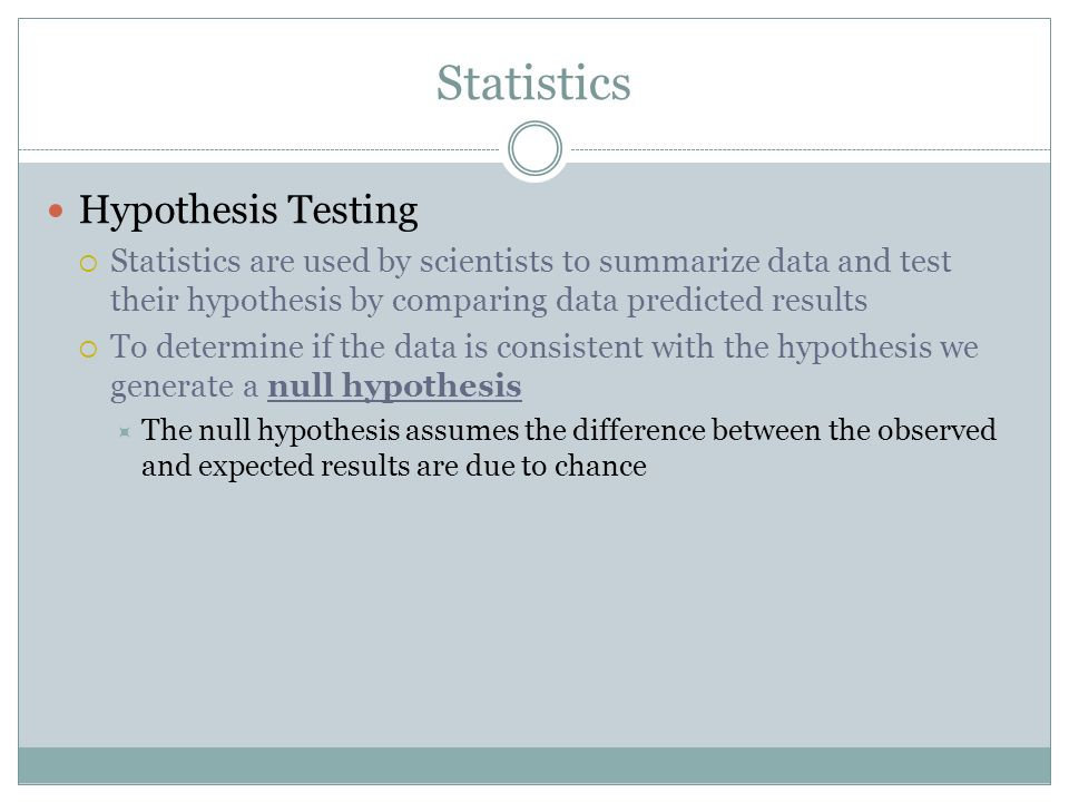 Statistics Hypothesis Testing