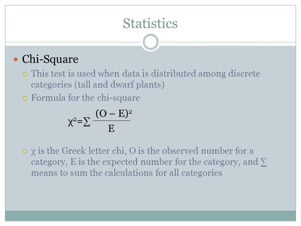 Statistics Chi-Square (O – E)2 χ2=∑ E