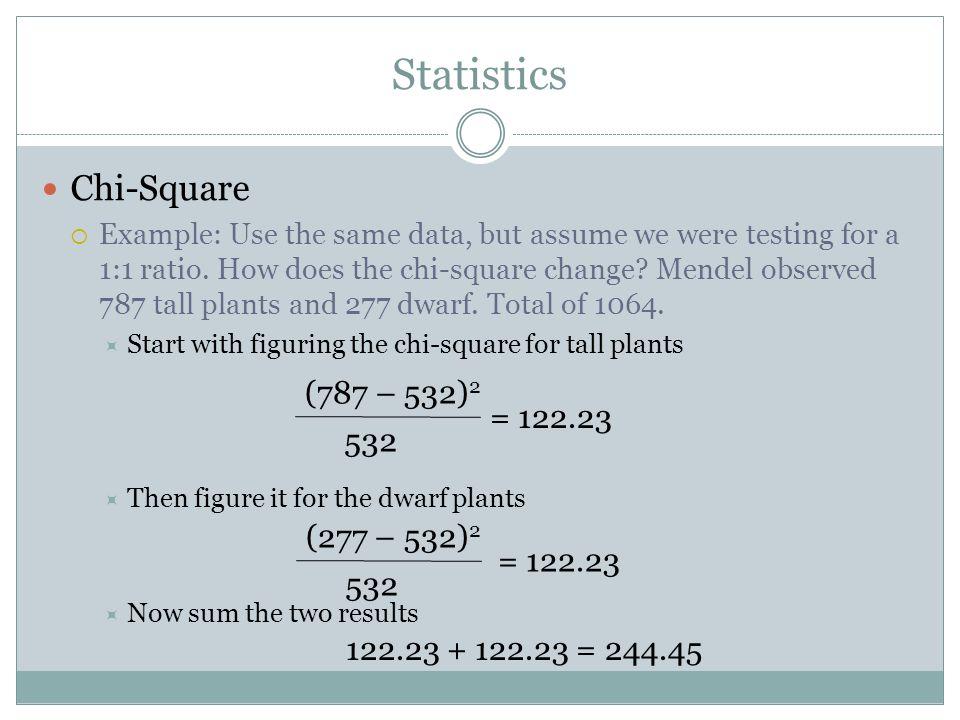 Statistics Chi-Square (787 – 532)2 = 122.23 532 (277 – 532)2 = 122.23
